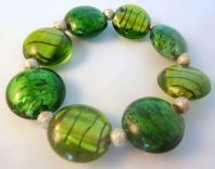 Green Striped Dichroic Stretch Bracelet